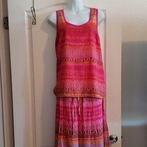 Two Piece Multicolor Skirt Set